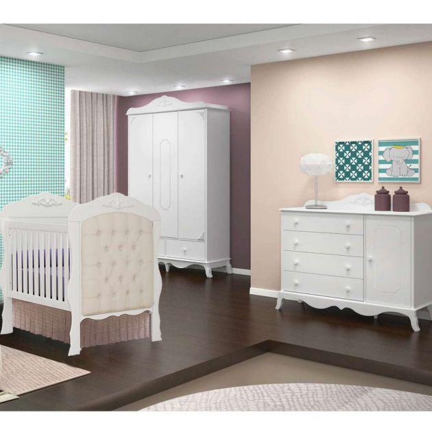Quarto Infantil Completo 3 portas Canaã Realeza com Cômoda Realeza 1 Porta e Berço com Captonê - Moveis Canaã