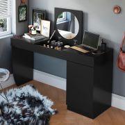 Penteadeira/ Escrivaninha Crystal Preto Fosco - Mobler