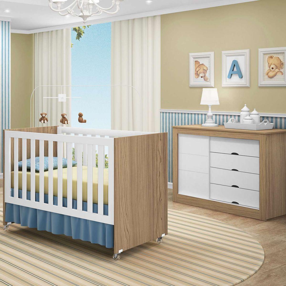 Quarto infantil com c moda e ber o mini cama esmeralda na - Comoda de bebe segunda mano ...