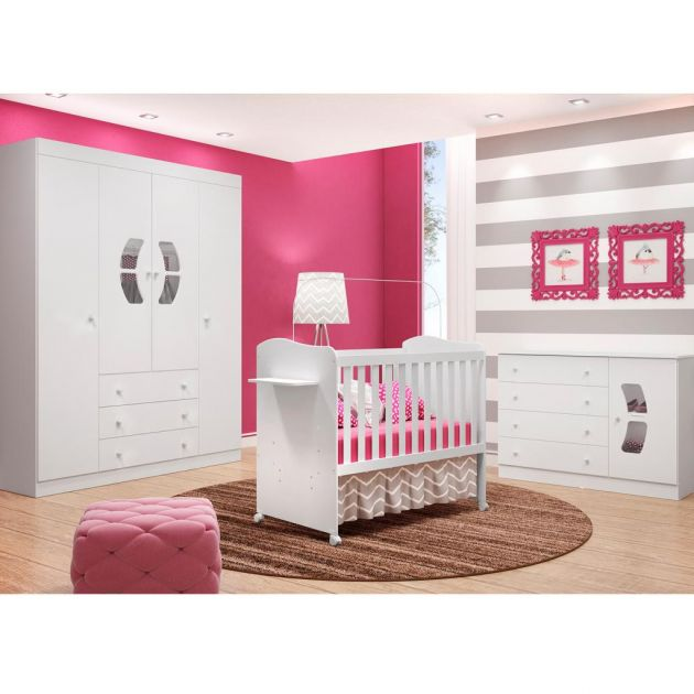 Quarto Infantil Belly 4 Portas, Roupeiro, Cômoda Belly e Berço Mini Cama Munique - Moveis Canaã