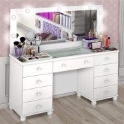 Penteadeira LED com Espelho 9 Gavetas Camarim Planet Baby Branco
