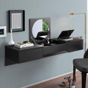 Penteadeira/ Escrivaninha Suspensa Elegance Preto Fosco - Mobler