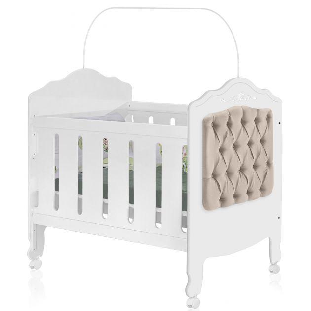 Berço Mini Cama Provence Plus Planet Baby Branco Acetinado 100% MDF com Captonê