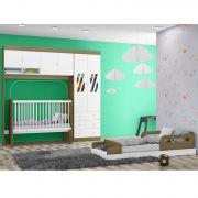 Quarto Infantil Completo com Guarda Roupas Modulado com Berço e Mini Cama Jade Wengue - Moveis Canaã