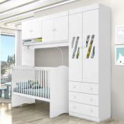 Quarto Infantil Completo Modulado com Berço Alegria Branco - Moveis Canaã