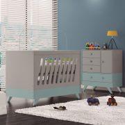 Quarto Infantil Completo Retrô com Cômoda e Berço Duda Cinza/ Azul - Moveis Canaã
