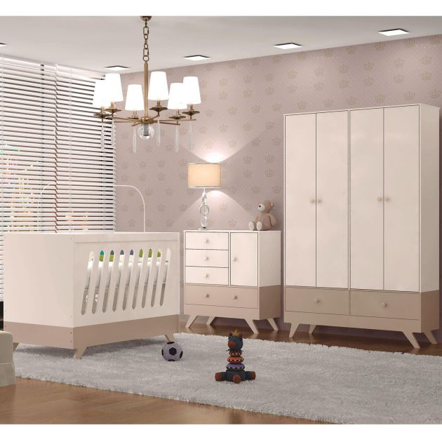 Quarto Infantil Completo Retrô Duda Chocolate / Off-White - Moveis Canaã