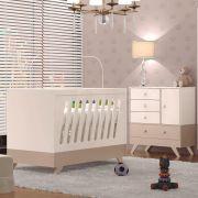Quarto Infantil Completo Retrô com Cômoda e Berço Duda Chocolate / Off-White - Moveis Canaã